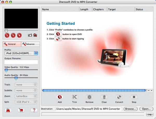 3herosoft DVD to MP4 Converter for Mac 3.6.9.1129