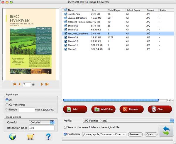 3herosoft PDF to Image Converter for Mac